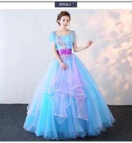 Blue puffy ball wedding bridal prom dress RB0415