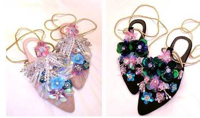 Pink black flower sequin pointed shoes RBH0218