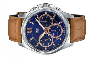 Casio Men Multi Hands Leather Watch MTP-E315L-2AVD