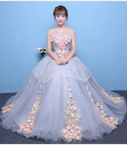 Grey pink wedding bridal prom dress gown RB0413
