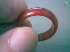 ABRJ-R001 Red Natural Jade Ring - Size 7.75 - 6mm
