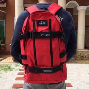 Black Red stussy laptop backpack bag