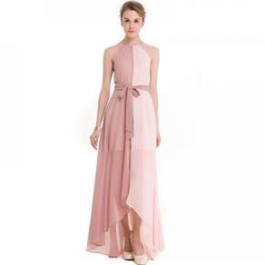 Pink grey mint halter neck bridesmaid prom dress