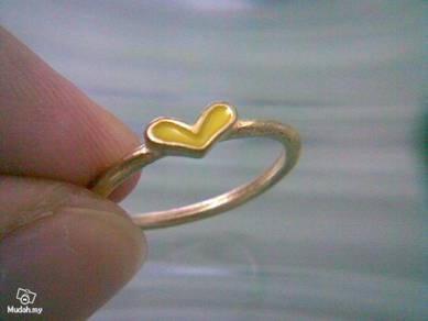 ABRGM-L006 Love Shape Yellow Color Golden Ring Sz5