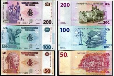 Congo set 50 100 200 francs 2013 unc