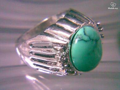 ABRSJ-T001 Mens Nice Natural Oval Turquoise Ring 9
