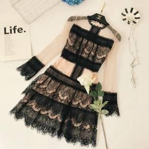 Black nude long sleeve lace prom dress RBP0595
