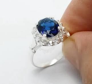 Cincin silver wanita-permata biru