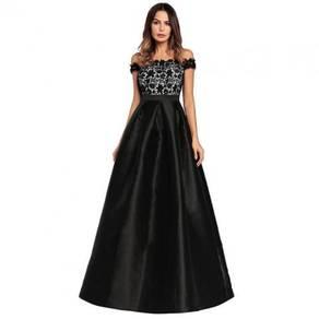 Red black pink off shoulder bridesmaid prom dress
