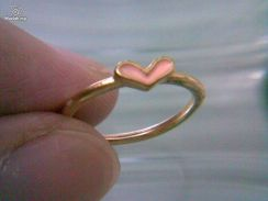 ABRGM-L004 Love Shape Pink Color Golden Ring Sz5