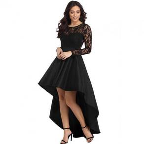 Black lace bridesmaid prom dress RBP0857