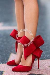 Black red pointed bow ribbon party high heels