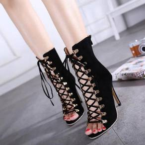 Black hollow party high heels ankle boots shoe