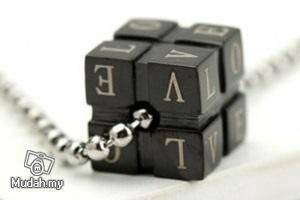 Stainless Steel Black Cube Love Pendant Necklace