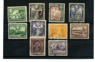 BRITISH GUIANA 10 pcs KGVI 1938 STAMPS BJ287