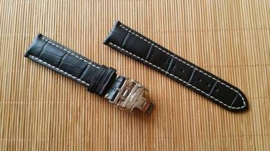 LONGINES 20mm Genuine Black Leather Watch Strap
