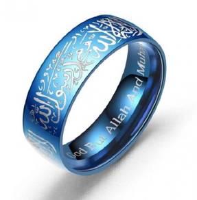 Muslim Muslimah Ring Cincin Islam Allah blue biru
