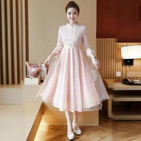 Pink white long sleeve bridesmaid dress RBP0602