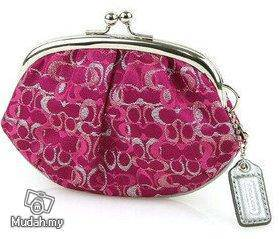 Coach Pink Signature Coin Purse Kisslock -F60505