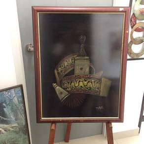 Hand painting with glass frame