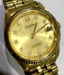 Jam BuLoVa Diamond Date gold watch