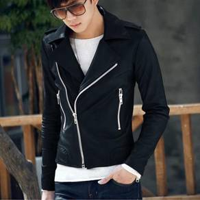 (357) Korean Black Zipper Leather Jacket Stylish