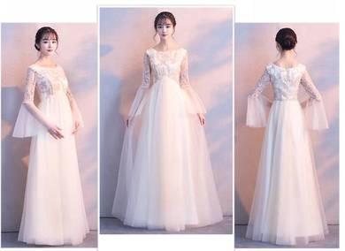 White long sleeve wedding bridal dress RBMWD0094