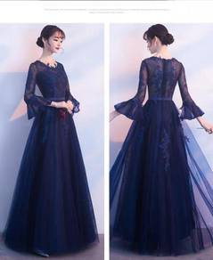Blue long sleeve wedding prom dress gown RBMWD0098