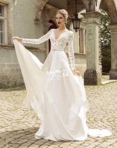 White long sleeve wedding bridal dress RBMWD0105