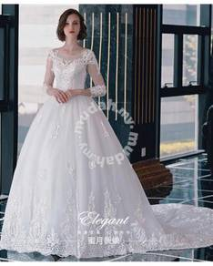 White long sleeve wedding bridal gown RB1254