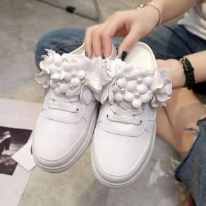 White flower 3d slip on shoes RBH0131
