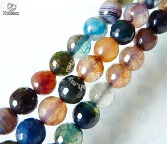ABNJ-M005 8mm Multicolor Faceted Agate Necklace