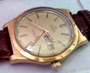 Automatic watch gold Omega Geneve day date Jam
