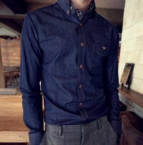 (546) Stylish Blue Denim Office Long-Sleeve Shirt