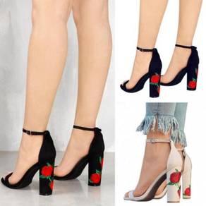 Black or cream rose flower strappy heels RBH0125