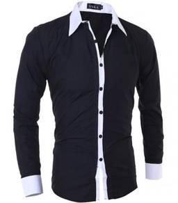 F5114 Kemeja Hitam Formal Lengan Panjang Men Shirt