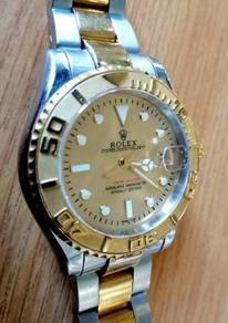 Jam old school Yacht Master gold dial HG ETA watch