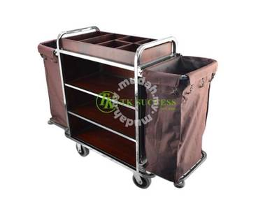 Stainless Steel Wooden Trolley (Foldable Side)