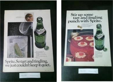 Pcol Sprite Soda Poster Lama Majalah 60an Not Tin