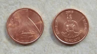 Vanuatu Coin 5 Vatu 2015 new unc 1 pcs