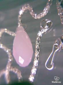 ABPJ-P007 Swarovski Teardrop Pinky Jade Necklace