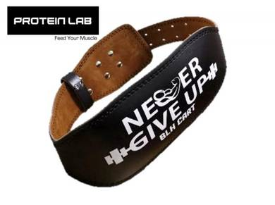 Never Give Up Leather Weightlifting Gym Belt