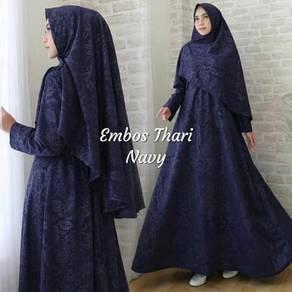 Embossed thari long sleeve Muslimah dress red