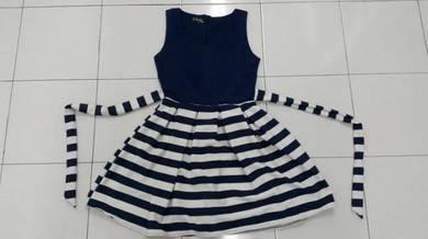 Blue white stripe dress skirt