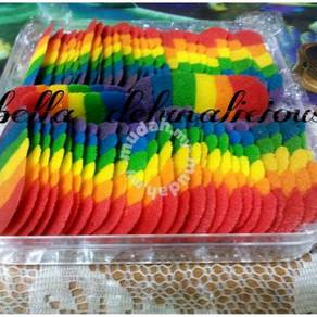 Biskut lidah kucing/rainbow cookies