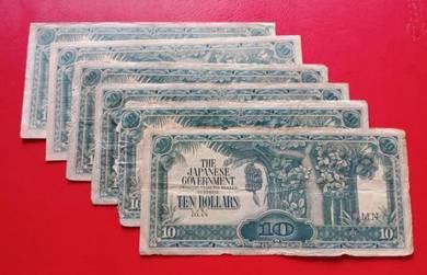 JIM Duit Zaman Jepun 10 Dollars (6 pcs)-Set F
