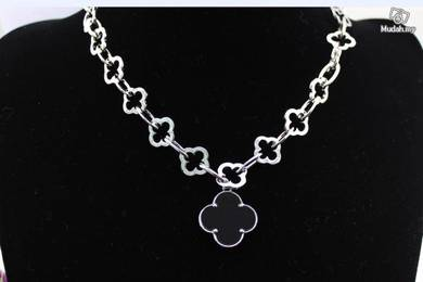 ABPSM-B011 Silver Black Flower Collar Necklace