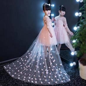 White pink flower wedding kids prom dress KPD4