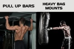 Chin up bar with hanging punching bag