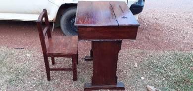 EEQ antik meja kerusi sekolah kayu lama jati resak